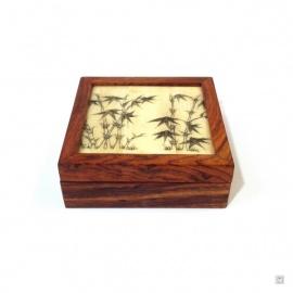 Boîte en bois de palissandre et couvercle carré BAMBOUS en os de buffle