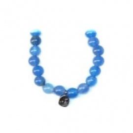 Bracelet perles ETERNiTE (恒) en AGATE BLEUE 6mm