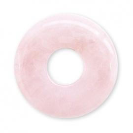 Pendentif Pi ou DONUT en quartz rose (d3cm)