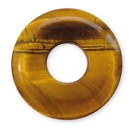Pendentif Pi ou DONUT en oeil de tigre (d3cm)
