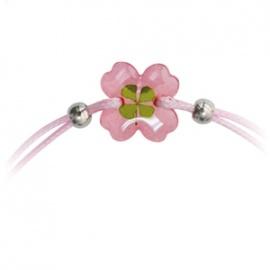 Bracelet ajustable TRèFLE VéRiTAbLE trèfle rose