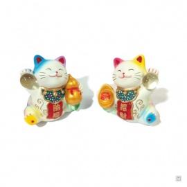 Maneki Neko SANTé et RiChESSE en résine blanc coloré (h6.5cm)