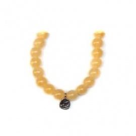 Bracelet perles ETERNiTE (恒) en CALCiTE MiEL 6mm