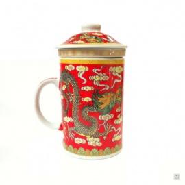 Tisanière & filtre en porcelaine DOUbLE DRAGONS rouge