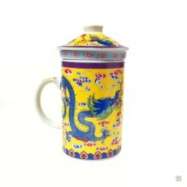 Tisanière & filtre en porcelaine DOUbLE DRAGONS jaune