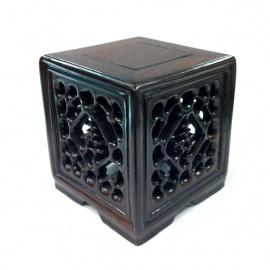 Socle cube en palissandre ajouré LONGEViTE (7.8cm)