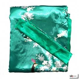 Kimono long satiné réversible 2 poches imprimé FLEURS & PAON vert (120cm)