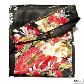 Kimono long satiné réversible 2 poches imprimé FLEURS noir (120cm)