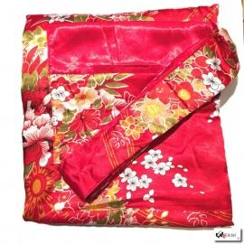 Kimono long satiné réversible 2 poches imprimé FLEURS rouge (120cm)