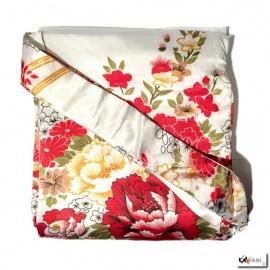 Kimono long satiné réversible 2 poches imprimé FLEURS blanc (120cm)