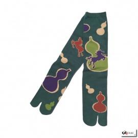 Chaussettes à orteil japonaises HYOTAN vert (extensible t39 à t44)