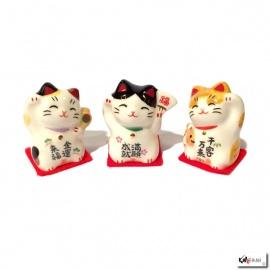 Maneki Neko MiNi TRiO en porcelaine japonaise (h3.4cm)