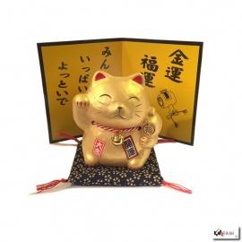 Tirelire Maneki neko DORé en porcelaine (h10.5cm)