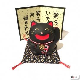 Maneki neko SMiLE noir en porcelaine (h9cm)