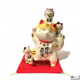 Tirelire Maneki neko TOUS les BONhEURS en porcelaine (h20cm)