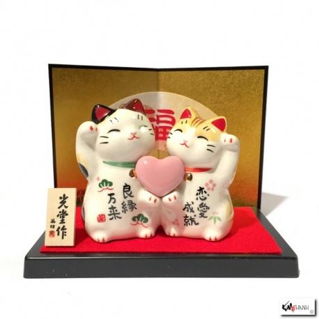 Maneki neko COUPLE d'AMOUREUX en porcelaine (h6.5cm)
