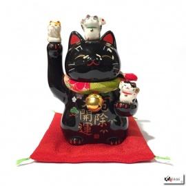 Maneki Neko BONhEURS noir en porcelaine japonaise (h11cm)