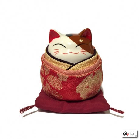 Tirelire Maneki neko rond KiMONO rouge en porcelaine