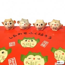 Chouette MiNi en porcelaine japonaise (h2.4cm)
