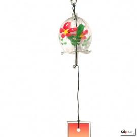 Carillon à vent japonais en verre soufflé cloche FLEURS ROUGES