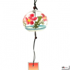 Carillon à vent japonais en verre soufflé boule FLEURS ROUGES