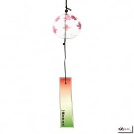 Carillon à vent japonais en verre soufflé boule FLEURS ROSES