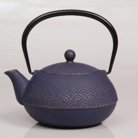 Théière VAGUES en fonte japonaise (0.60L) bleu-violet