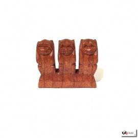 3 singes sculptés en bois de suar (h9cm)
