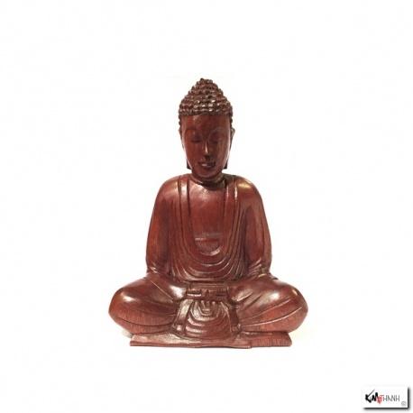 Bouddha assis en bois de suar (h21cm)
