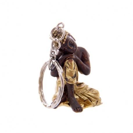 Porte-clés Bouddha endormi en résine noir et or (h4cm)
