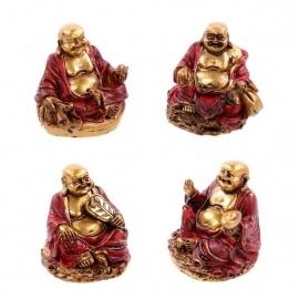 Bouddha Hotei (Prospérité) en rouge et or (h3cm)