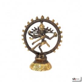 Shiva Nataradja en laiton bronze et or (h14cm)