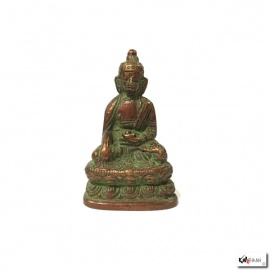 Bouddha ShAKYAMUNi en laiton vert-de-gris (h5.5cm)