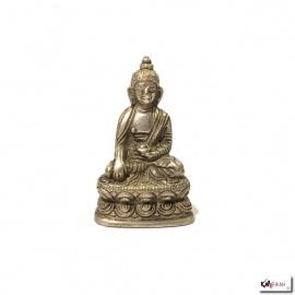 Bouddha ShAKYAMUNi en laiton argenté (h5.5cm)