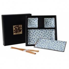 Coffret 2 services à sushi HiMAWARi en porcelaine japonaise et baguettes torsadées en bambou