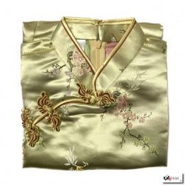 Chemisier brocard doré motif 3 amis (50% soie & 50% polyester)