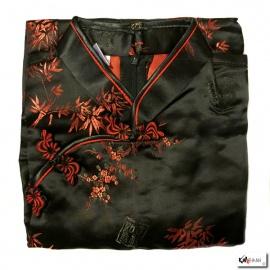 Chemisier brocard noir motif 3 amis rouge (50% soie & 50% polyester)