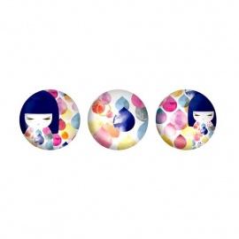 3 Magnets en verre Kimmidoll MihOKO (Créativité)