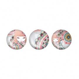 3 Magnets en verre Kimmidoll HARUYO (Paix)
