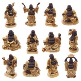 Bouddha Hotei (Prospérité) en noir et or (h7cm)