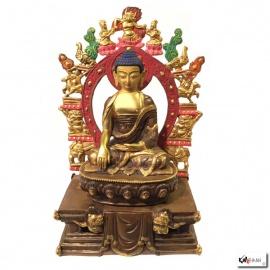 Bouddha ShAKYAMUNi sur socle DhARMA en laiton doré