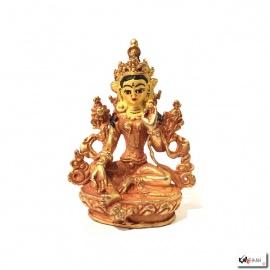Bouddha TARA BLANChE en laiton doré (h8.2cm)