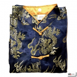 Ensemble enfant brocart DRAGON & ChEVAL bleu nuit