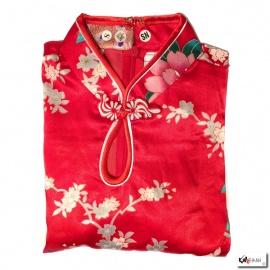 Robe goutte imprimé FLEURS & PAON rouge