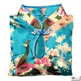 Robe goutte imprimé FLEURS & PAON bleu turquoise