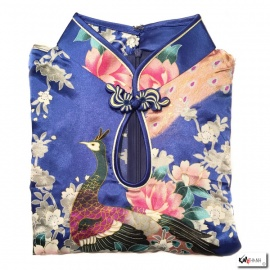Robe goutte imprimé FLEURS & PAON bleu roi