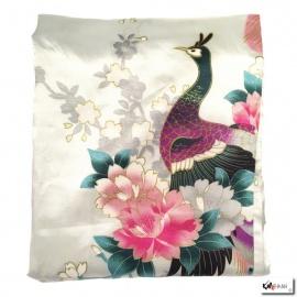 Kimono cache-coeur satiné imprimé FLEURS & PAON blanc (72cm)