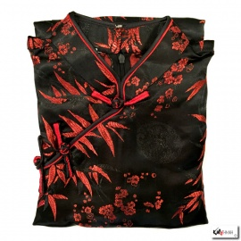 Robe chinoise (qipao 旗袍) longue NOiRE motif 3 AMiS ROUGE (100% polyester)