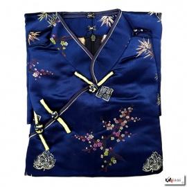 Robe chinoise (qipao 旗袍) longue BLEU MARiNE motif 3 AMiS OR (100% polyester)