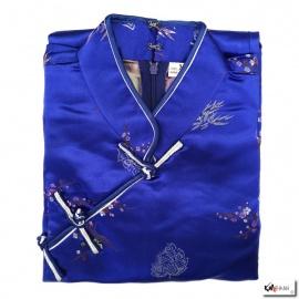 Robe chinoise (qipao 旗袍) longue BLEU ROi motif 3 AMiS OR (100% polyester)